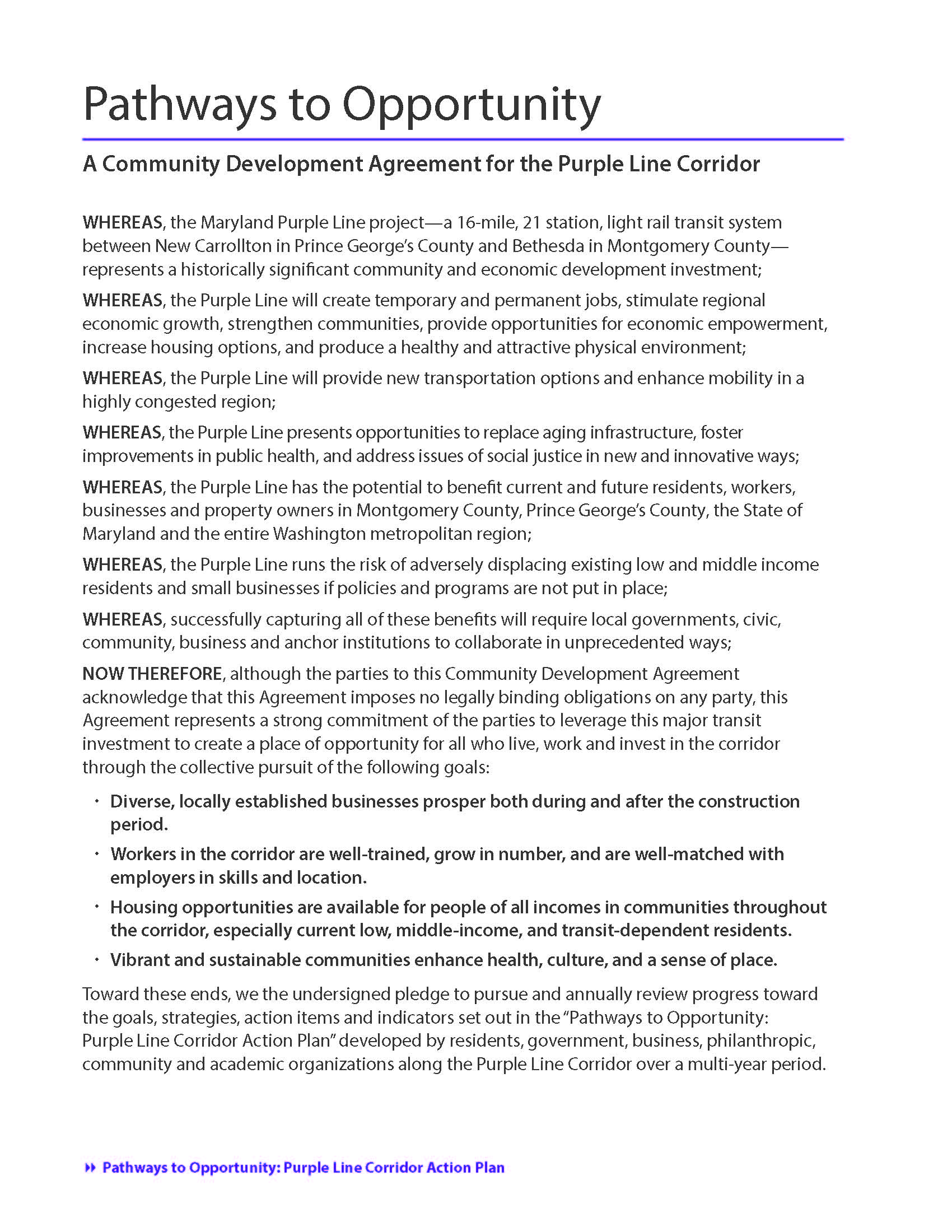 Community Development Agreement Plcc